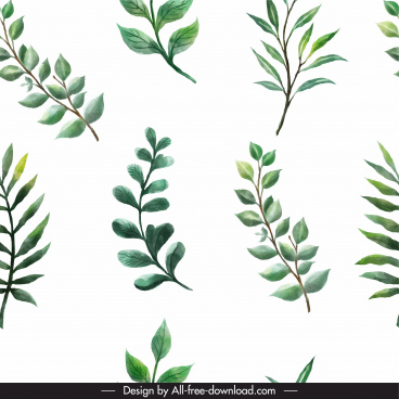 leaf pattern bright green classic flat handdrawn design