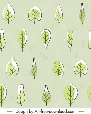 leaf pattern colored retro flat handdrawn design