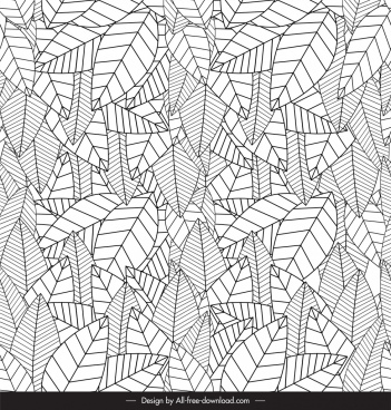 leaf pattern template black white luxuriant sketch