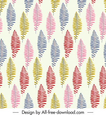 leaf pattern template colorful classic handdrawn flat repeating