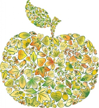 apple background colorful leaves layout decor