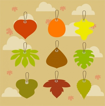 leaf tags collection various shapes on leaves background