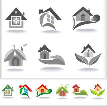 leaf with home abstract icons vector