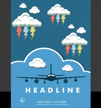 leaflet template airplane cloud lightning icons decoration