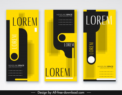 leaflet templates elegant black yellow modern abstract decor