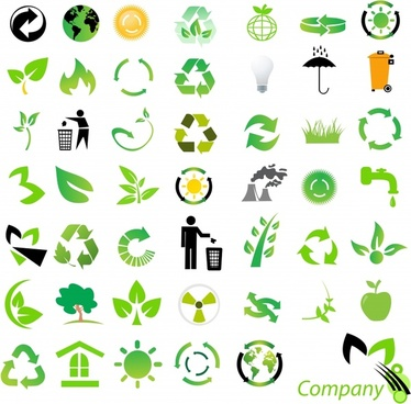 eco design elements green black symbols decor