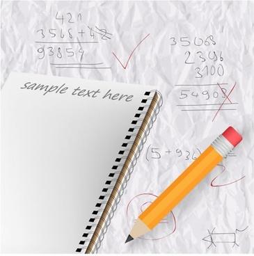 study background template notebook pencil calculation modern 3d