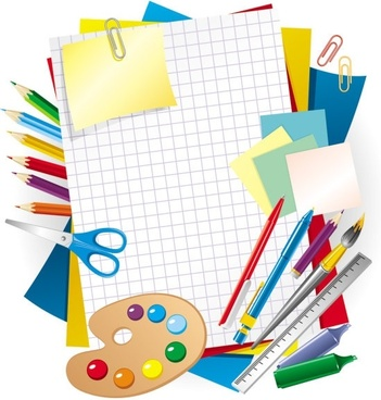 learning stationery 01 vector