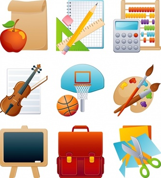 learning stationery icons vector