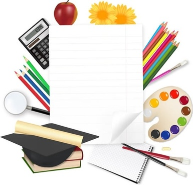 education background colorful modern tools sketch