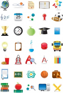 school icons collection colorful symbols outline