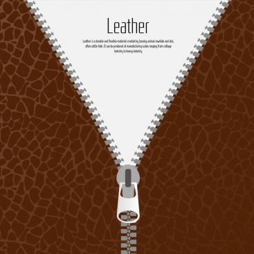 leather clothing background zipper icon flat design