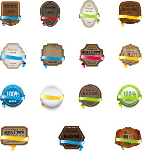 leather labels with ribbon vector graphic
