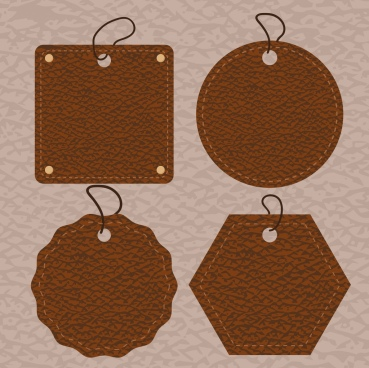 leather tags collection various brown shapes isolation