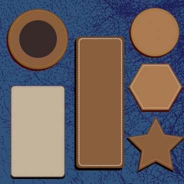 leather tags collection various shapes isolation