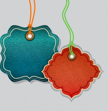 leather tags templates blue red design rounded shape