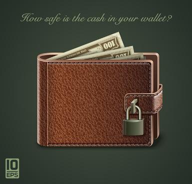 leather wallet design vector