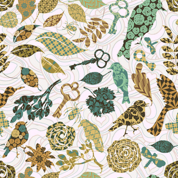 leaves and birds vector background set