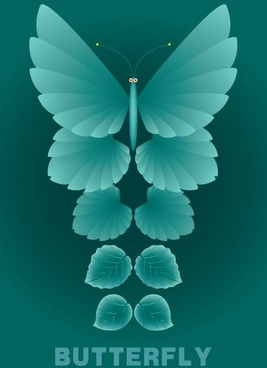 leaves and butterflies vector