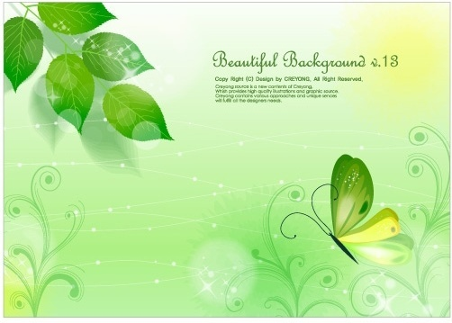 leaves and butterflies vector fantasy background