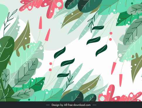 leaves background bright colorful flat design classical design