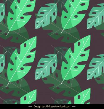 leaves background classical dark green flat design