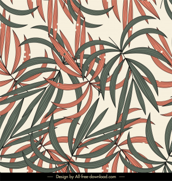leaves background colored flat classic design