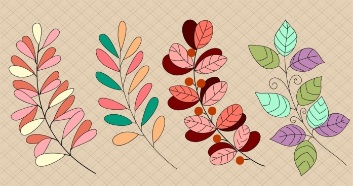 leaves background colorful classical design