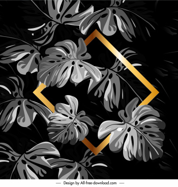 leaves background dark grey golden frame decor