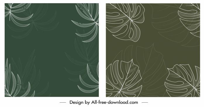 leaves background dark retro handdrawn design