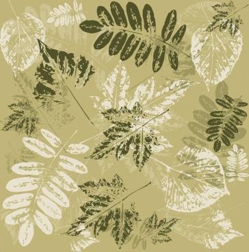 leaves background grunge decoration classical print design