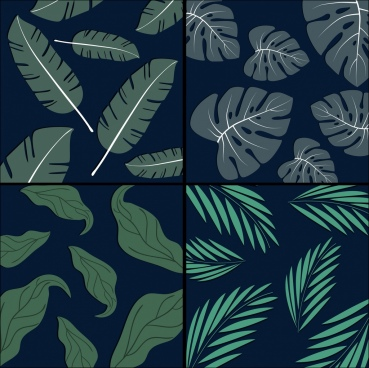 leaves background sets dark green isolation