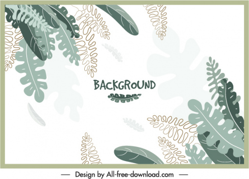 leaves background template bright classical handdrawn sketch