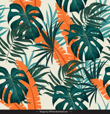 leaves background template colored luxuriant sketch