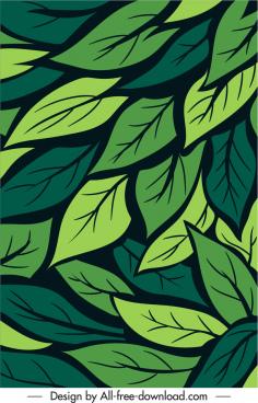 leaves background template green handdrawn flat design