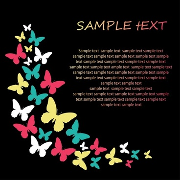 decorative background butterflies silhouettes decor colorful dark design