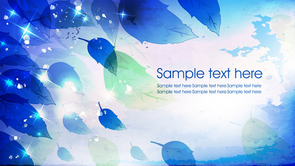 leaves background with bright sparkle vignette illustration