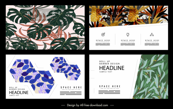 leaves banner templates colored classic decor