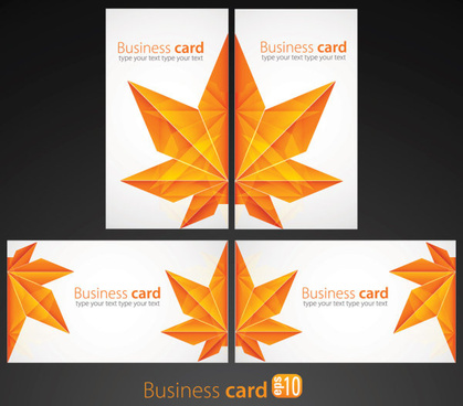 leaves business card vector