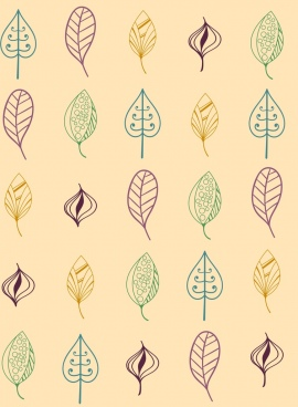 leaves icons collection outline various colored types