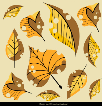 leaves painting classical yellow brown handdrawn decor