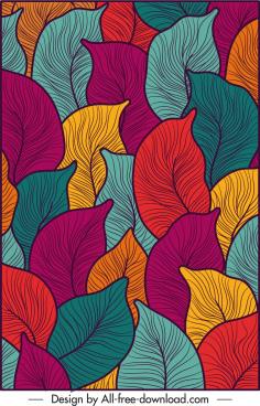 leaves painting colorful flat vintage handdrawn