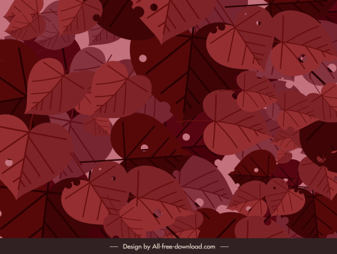 leaves painting dark classic red decor