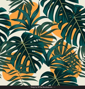 leaves painting elegant retro design
