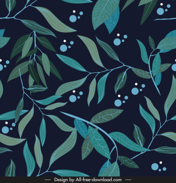 leaves painting handdrawn dark classical design