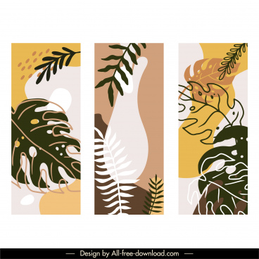 leaves painting templates flat classical handdrawn sketch