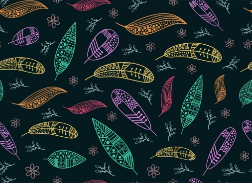 leaves patern outline colorful classical design style