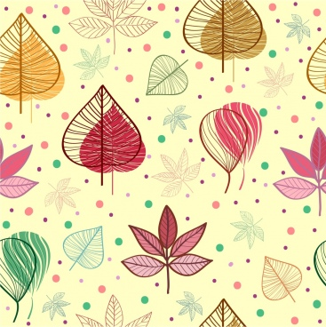 leaves pattern background colorful sketch