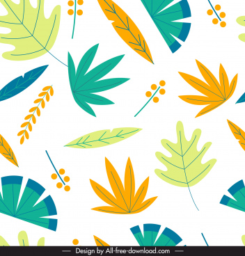 leaves pattern bright colorful flat classic design
