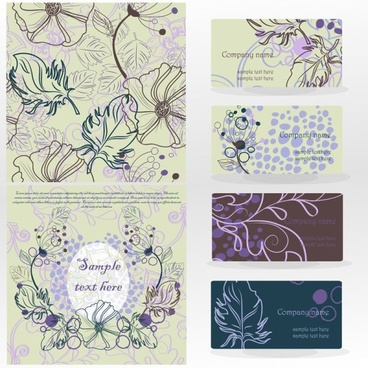 leaves pattern business card 02 vector